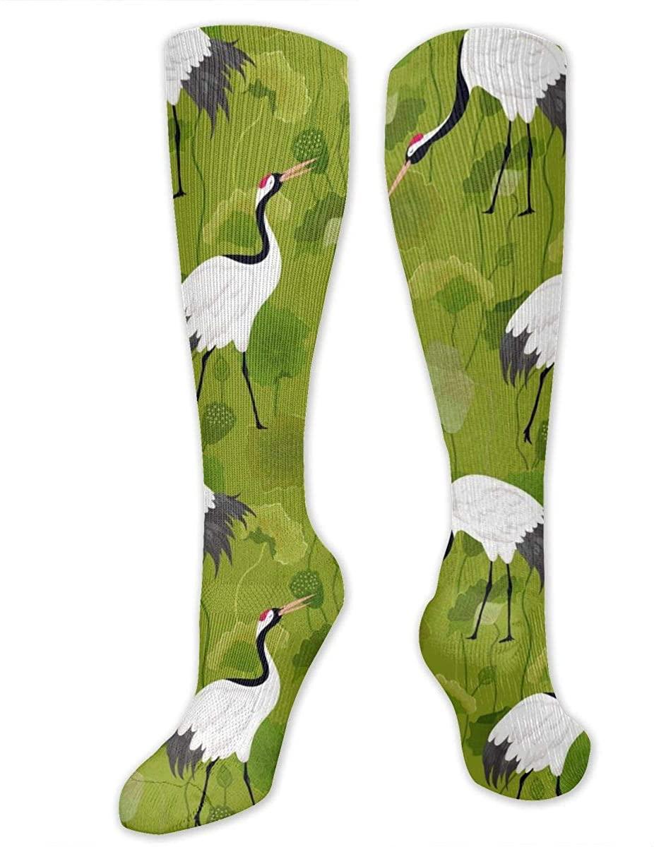 Knee High Socks For Men Women Japanese Crane Lotus Floral Tube Hose Stockings