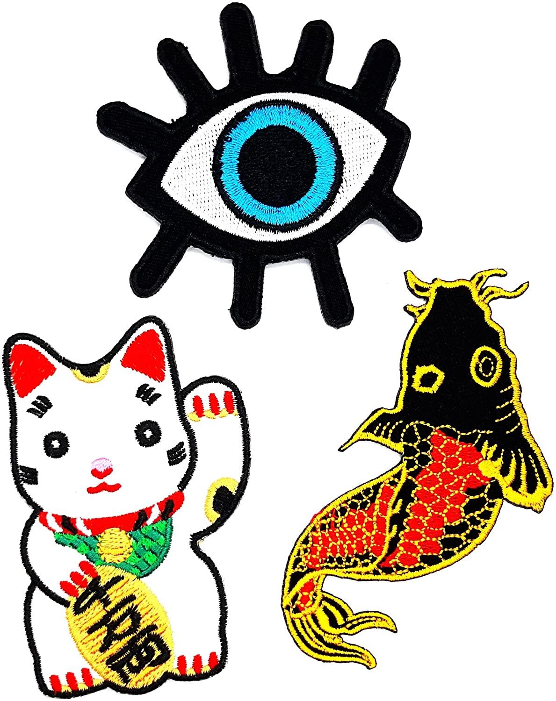 PP Patch Set 3 Beautiul Devil Monster Eye Japanese koi carp Fish Maneki-Neko Japanese Lucky Cat Patch for Bags Jacket T-Shirt Embroidered Sign Badge Costume DIY Applique Iron on Patch
