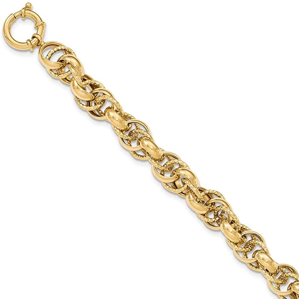 14K Polished And Textured Fancy Link Bracelet
