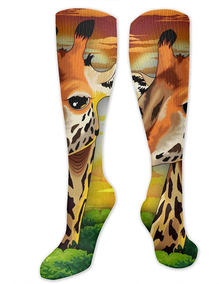 Men Women Knee High Socks Cartoon Giraffe Wild Animal Crew Long Hose Stockings
