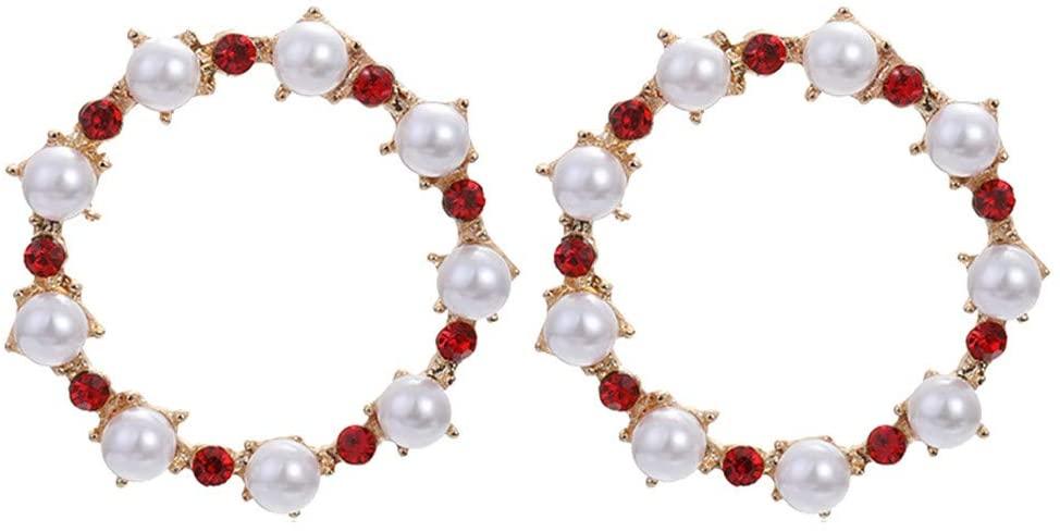 Peigen Pearl Earrings for Women,Vintage Baroque Wind Diamond Pearl Geometric Circle Earrings Womens Jewelry
