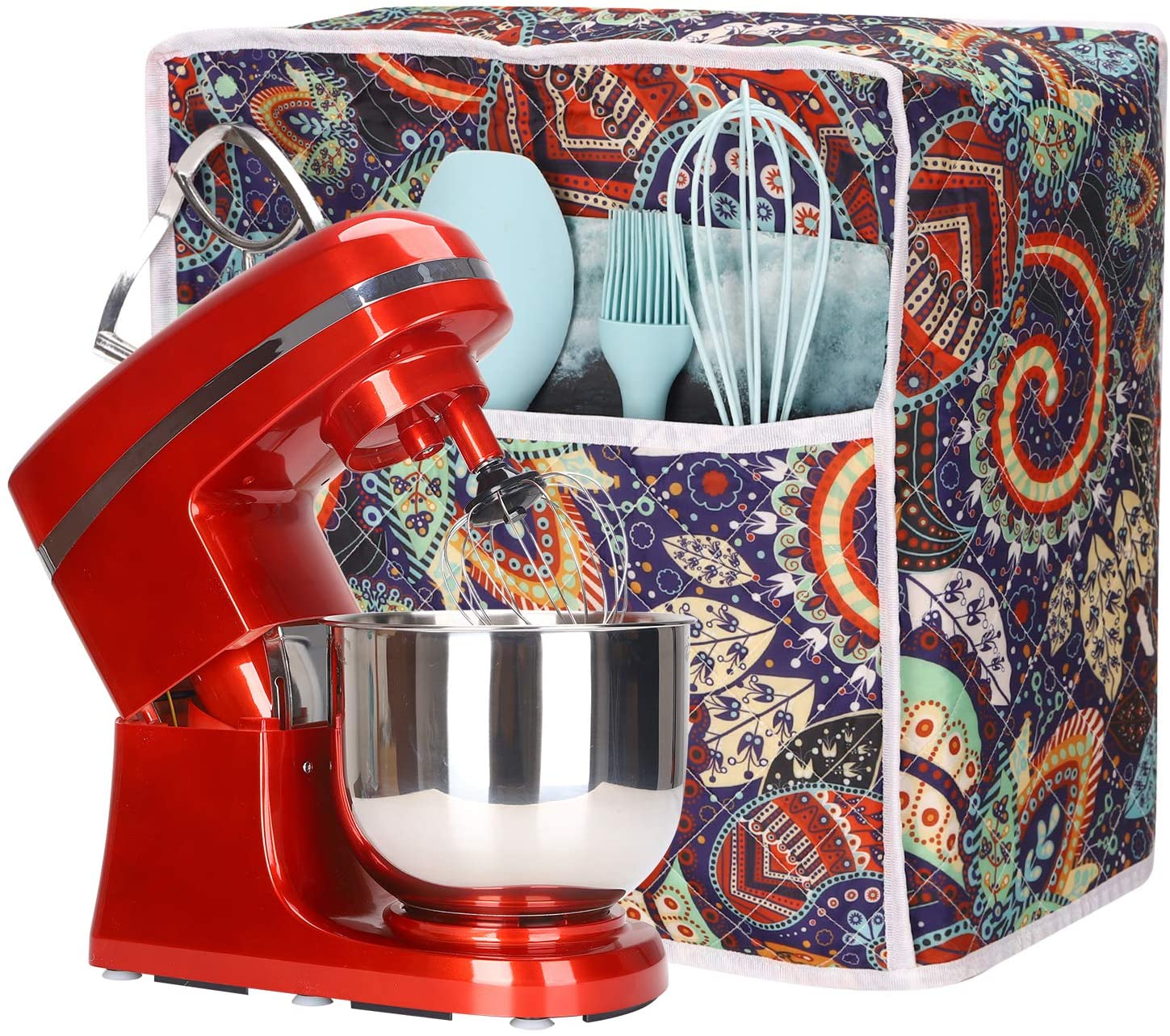 Visible Kitchen Aid Mixer Cover, Stand Mixer Protector Cover with Pockets, 5-8 Quart Mixer Dust Cover Compatible with Kitchenaid Mixers for All Tilt Head & Bowl Lift Models
