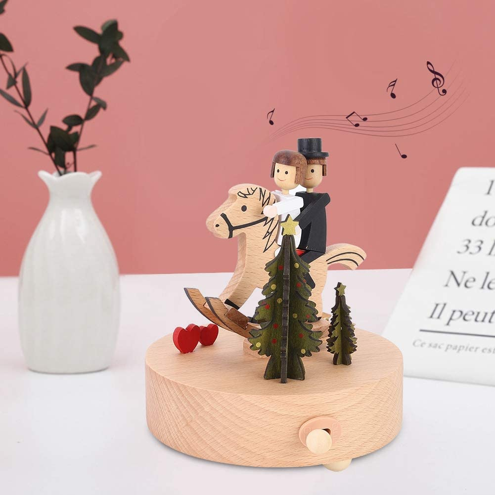 wosume Carousel Music Box, Innovative Rotating Musical Box Wooden Music Box for Valentine's Day Wedding Gift Table Decoration - Melody Castle in The Sky
