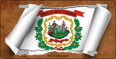 Smart Blonde West Virginia Flag Scroll Novelty Metal License Plate LP-9054