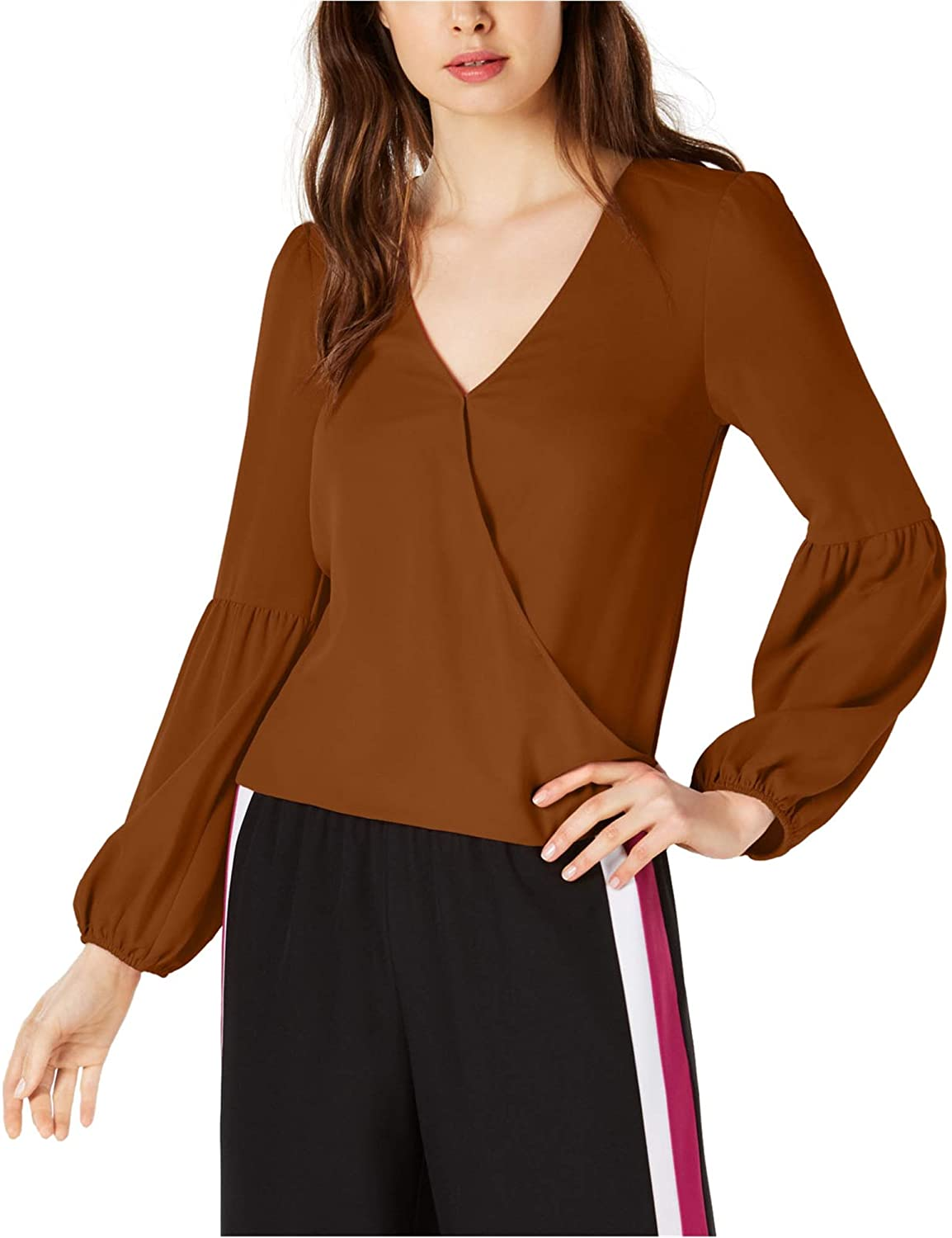 Bar III Women's Blouson-Sleeve Surplice Top
