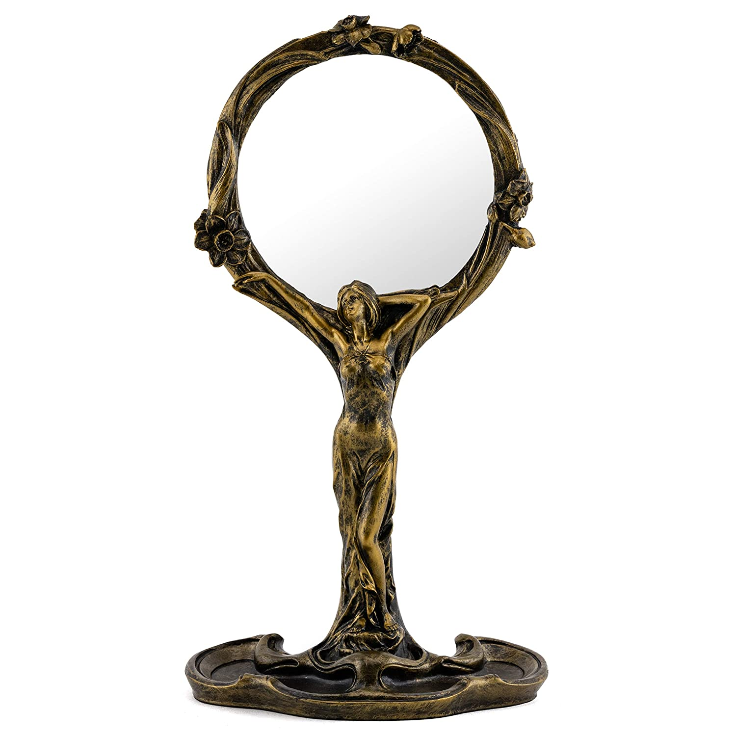 Top Collection Art Nouveau Standing Lady Hand Mirror- Hand Painted Collectible New Art Deco Reflecting Mirror with Bronze Finish Look- 11-Inch Beautiful Makeup Accessory
