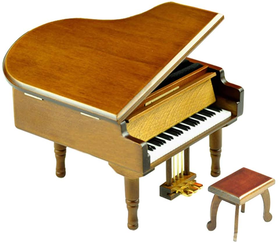 Play (Over The Rainbow) Wooden Piano Music Box with Sankyo Musical Movement (Brown)