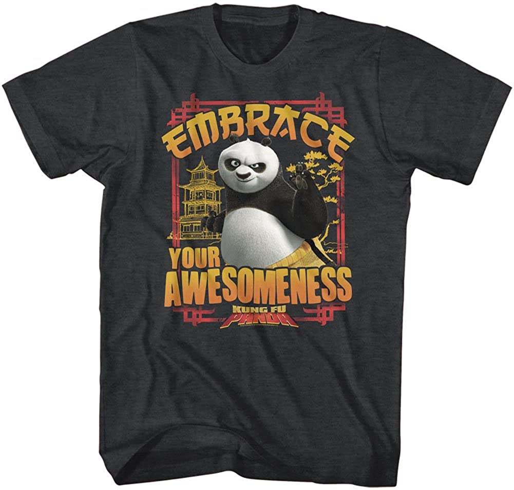 Kung Fu Panda Men's Embrace Awesomeness T-Shirt Black Heather