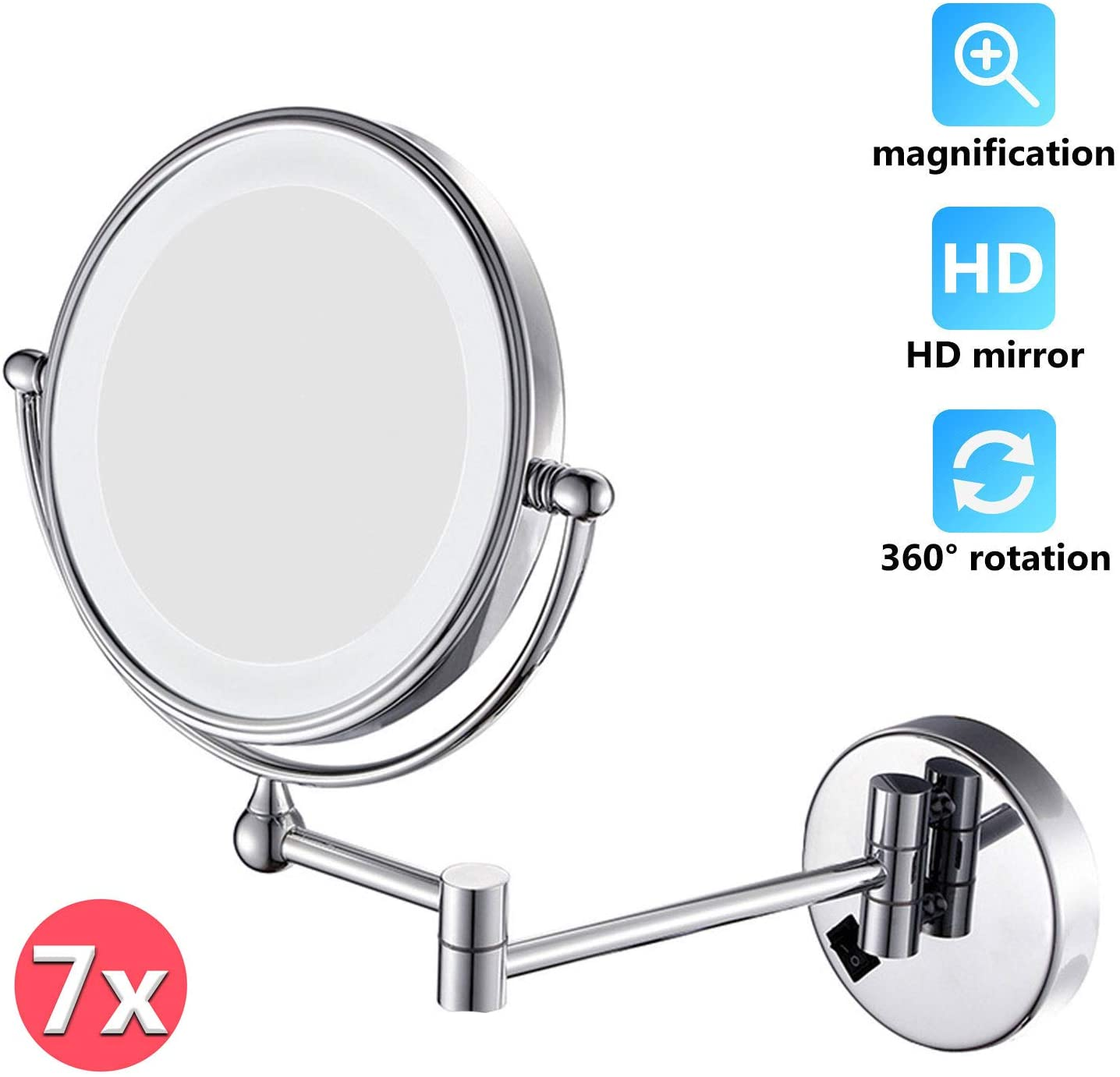 LFSTY Makeup Mirror Wall Mount Magnification Lighted 7X, Double Face 360 Swivel Cosmetic Extendable Vanity Mirrors for Bathroom Home Hotels,USB Charging