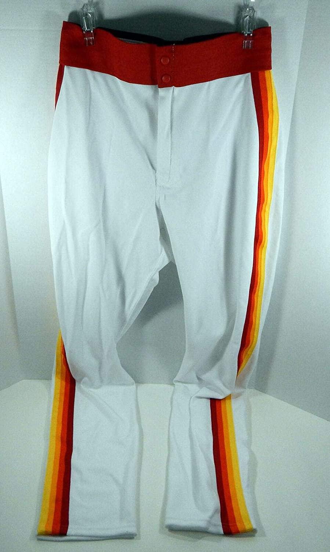 2015 Astros Jon Singleton #21 Game Issued White Rainbow Pants 1980 TBTC - MLB Game Used