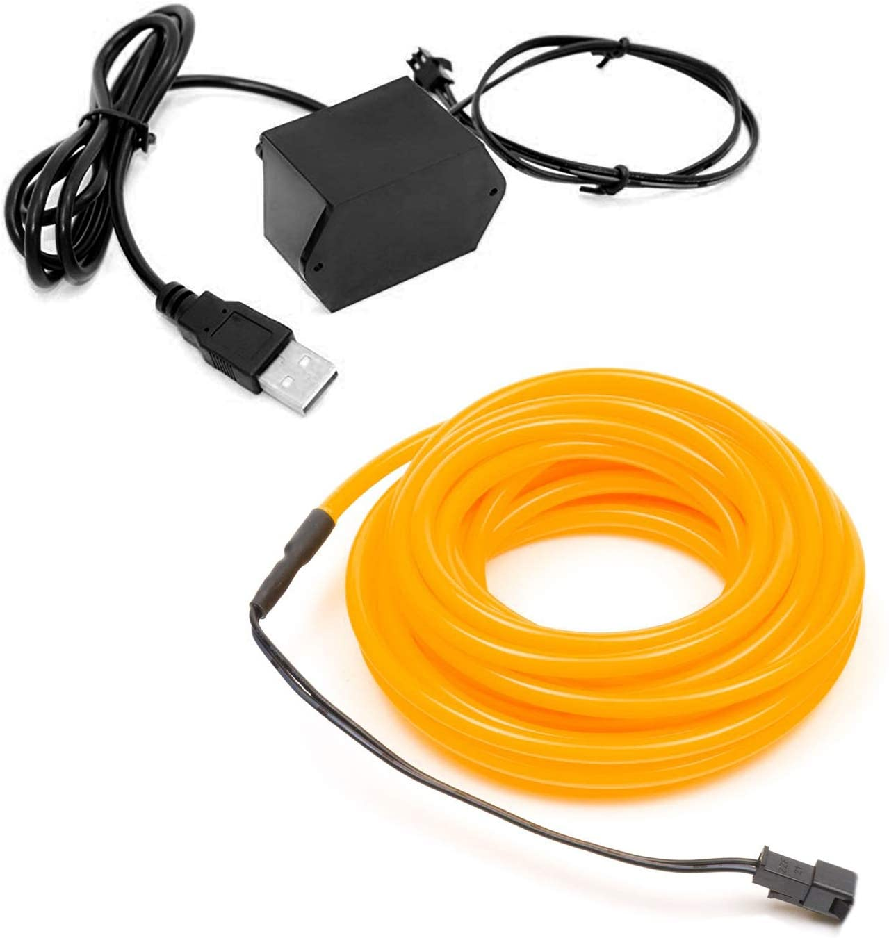 3-Pack 2m/6.5ft Yellow Neon LED Light Glow EL Wire - 3.2 mm Thick - Powered by 12V USB Port - Craft Neon Wire String Light for DIY Project Costume Accessories Cosplay