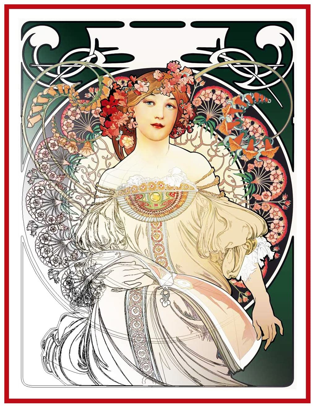 Orenco Originals Green Reverie by Alphonse Mucha Counted Cross Stitch Pattern