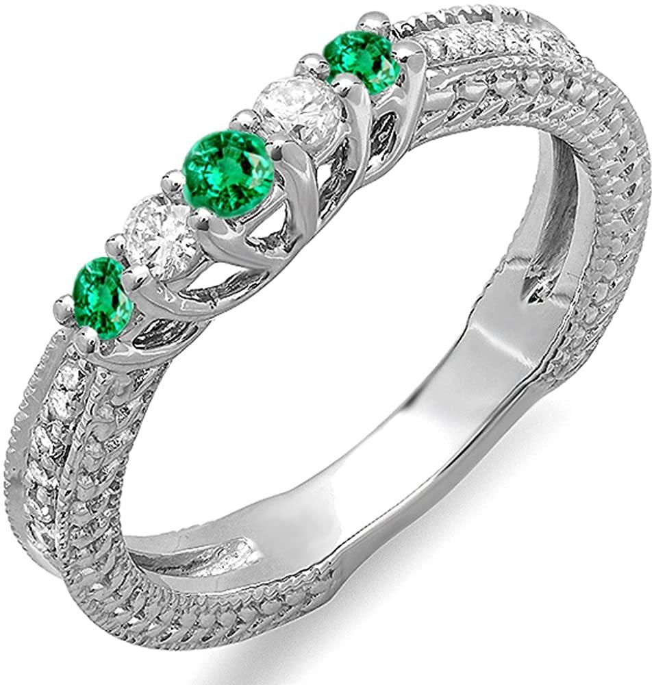 Dazzlingrock Collection 18K Round Green Emerald And White Diamond Ladies Anniversary Wedding Band Guard Enhancer Ring, White Gold