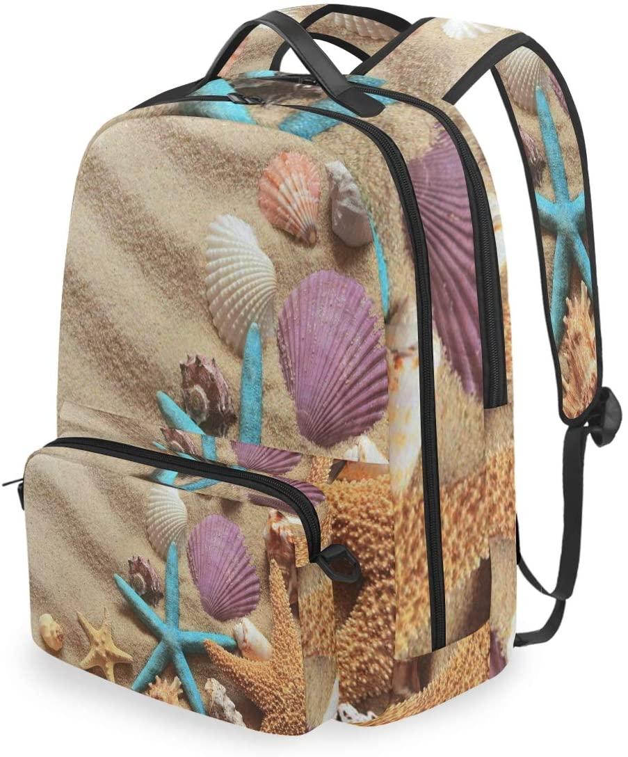SLHFPX Women/Men Backpack Summer Beach Seashells Bookbag College School Shoulder Bag Daypack Travel Rucksack for Youth