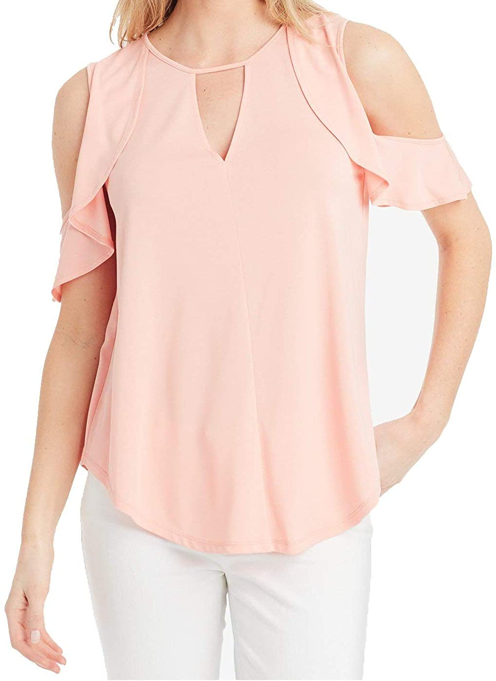 Jessica Simpson Womens Pearlina Cold Shoulder Ruffled Pullover Top
