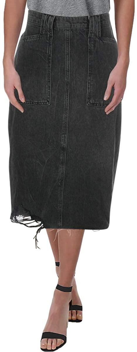 Free People Women's Elisa Pencil Denim Skirt, Size 8 - Black