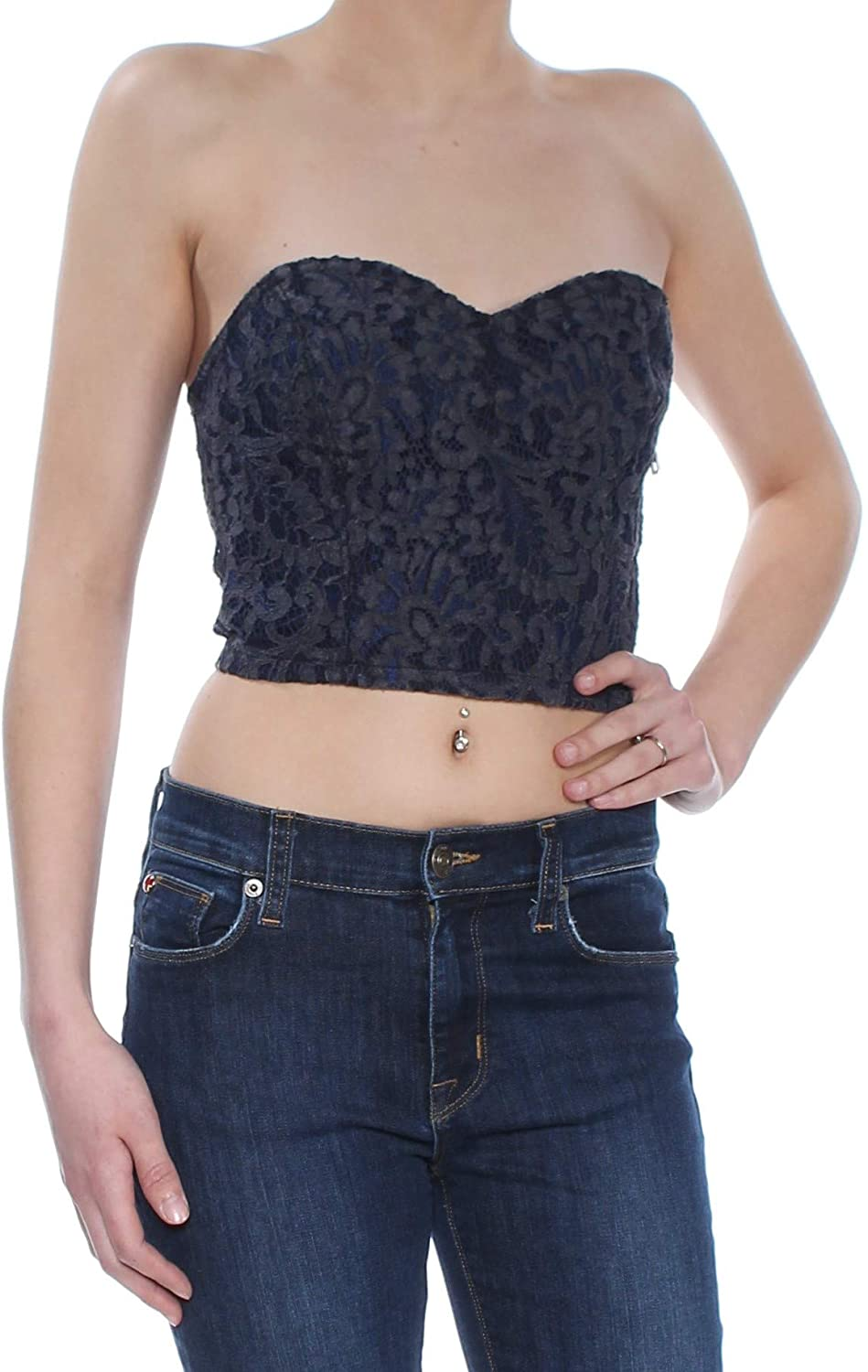 GUESS Womens Lace Bustier Blouse