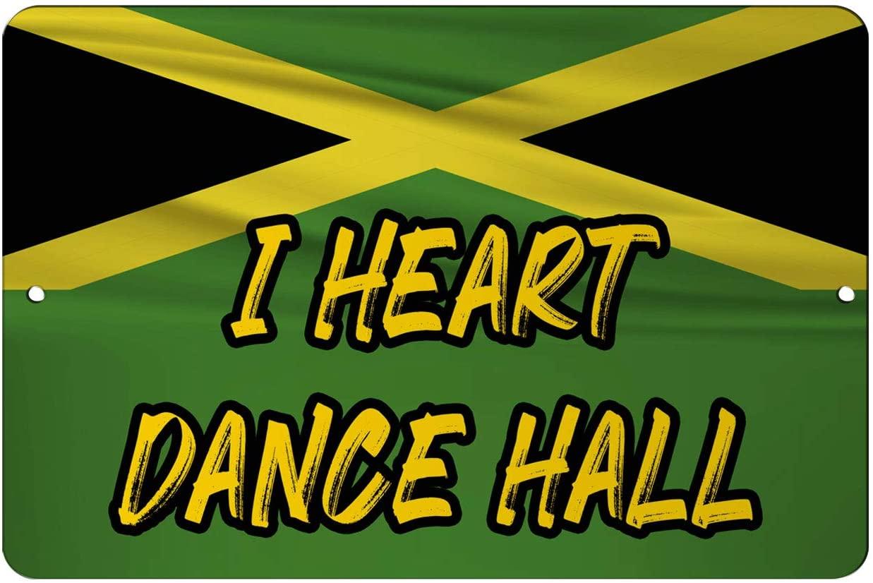 Makoroni - I Heart Dance Hall Jamaican Flag 12x18 inc Aluminum Decorative Wall Street Sign