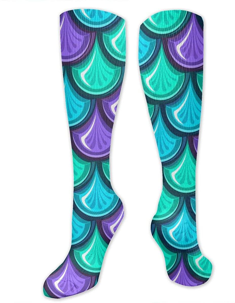 Men Women Knee High Socks Colorful Sea Mermaid Scale Boot Crew Hose Thigh Stockings