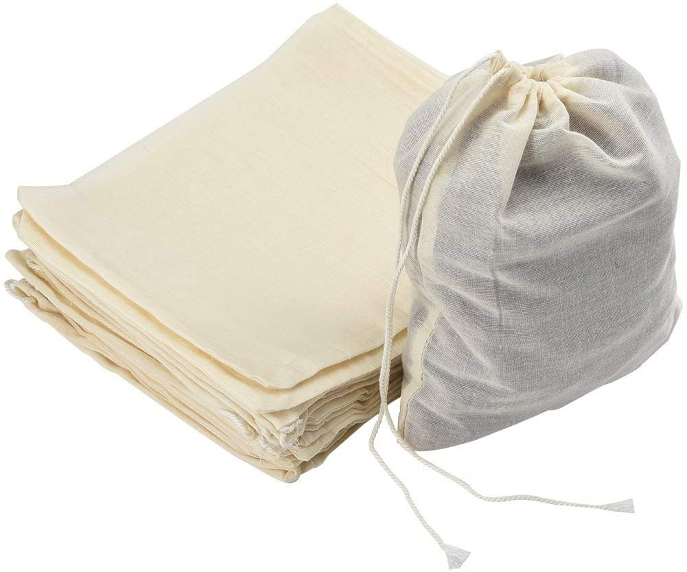 Ancoo 100 Pieces Muslin Bags Cotton Drawstring Bags for Store Spices, Crafts, Soap or Slag Filtration, 4 by 3 Inches