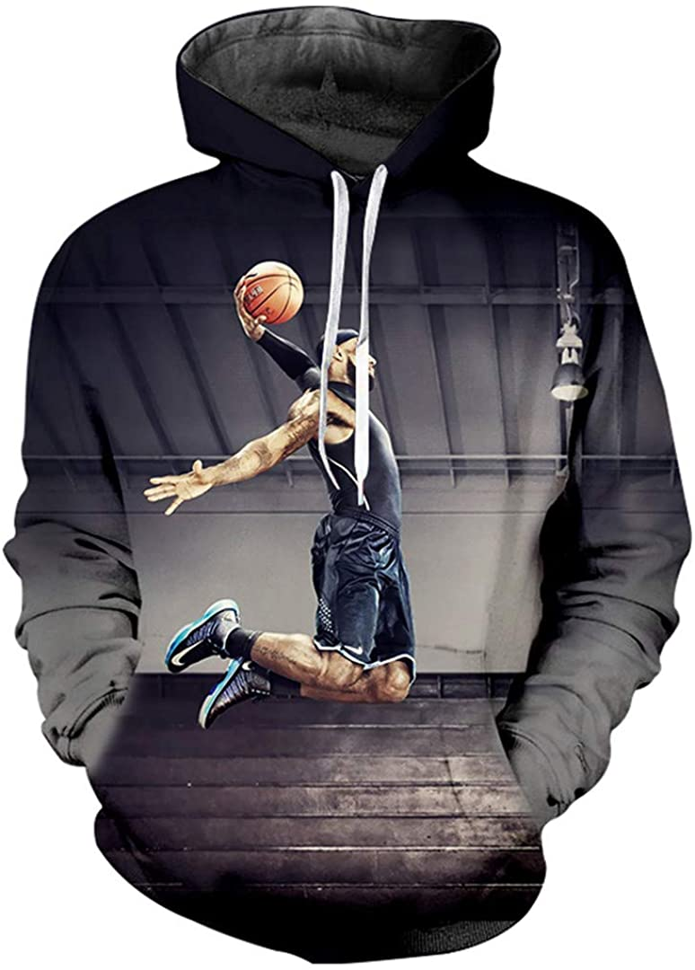 G-Brensnely Men's 3D Pullover Printed Basketball Super Slmas Streetwear Oversized Habiliment Hoodies