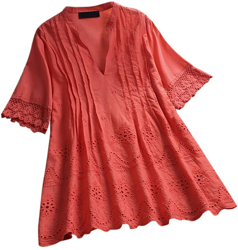 JOFOW Shirts Womens Cotton Linen Solid Lace Pleated Puff Short Sleeve Babydoll V Neck Tops Casual Loose Plus Size Blouses