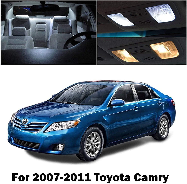 SMDchipset 8x Xenon White Interior Lights LED Bulbs Package Kit w/License Light for 2007-2011 Toyota Camry