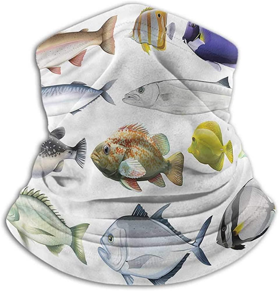 Neck Warmer Fish Sun Protection Windproof, Fishing Running Cycling Pacific Fish Salmon Sea Bass 10 x 12 Inch