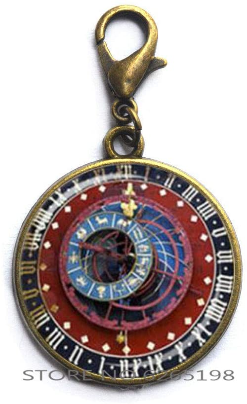 Astronomical Clock Lobster Clasp,Astrology Zipper Pull Clock Jewelry Astronomy Lobster Clasp,Dainty Zipper Pull,N162