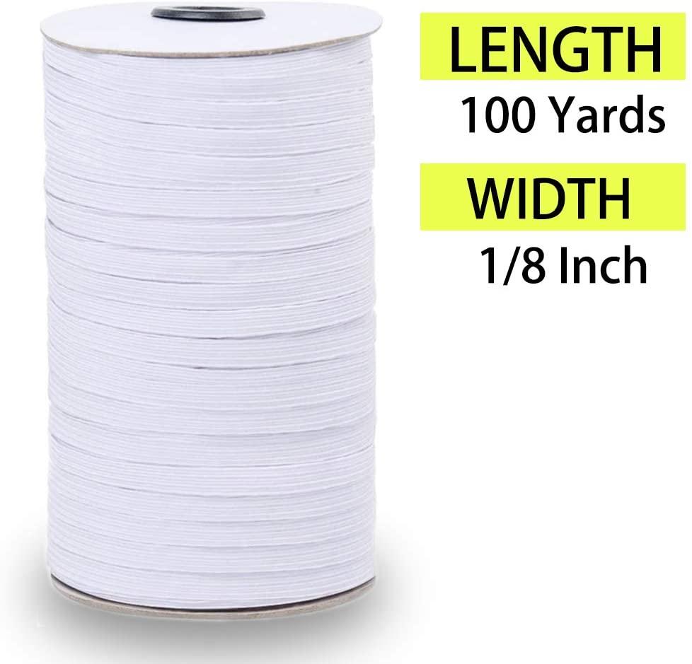 Palirado 100 Yard Braided Elastic Band 1/8 inch Elastic Spandex Band Elasticity Knit Elastic Rope Heavy Stretch Knit Elastic Spool for Sewing Crafts DIY, Home,Furniture,Bedspread,Clothes Repair,Cuff