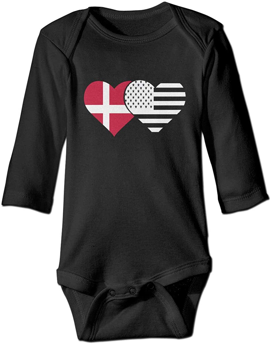 YOIGNG Danish Flag and American Flag Unisex Baby Bodysuit Infant Cotton Outfits Long Sleeve Jumpsuit