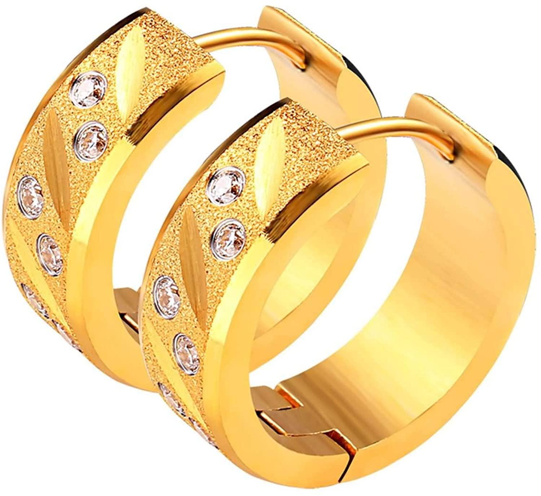 Daesar Stainless Steel Earrings Girls Unique Hoop Earrings Simple Elegant Round Cubic Zirconia White Women Earrings for Wedding