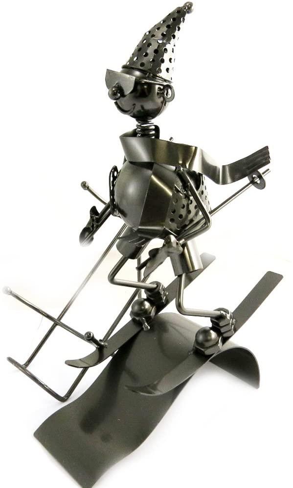 Les Trésors De Lily [M9880] - Bottle Holder 'Sculpture Métal' Skiers.
