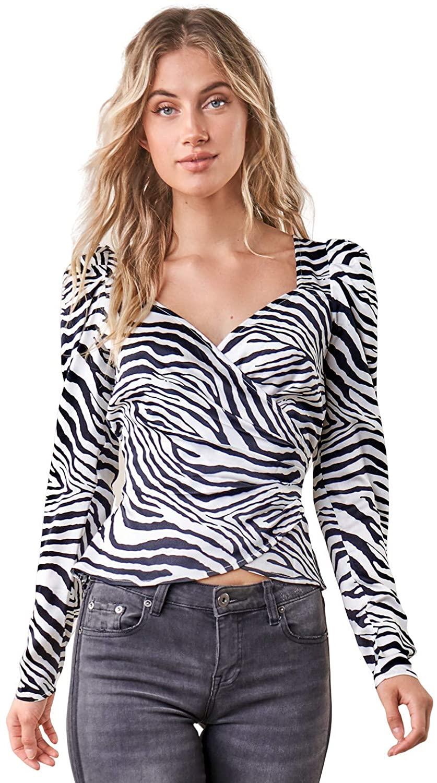 Sugar Lips Women's Born to Run Zebra Print Wrap Top