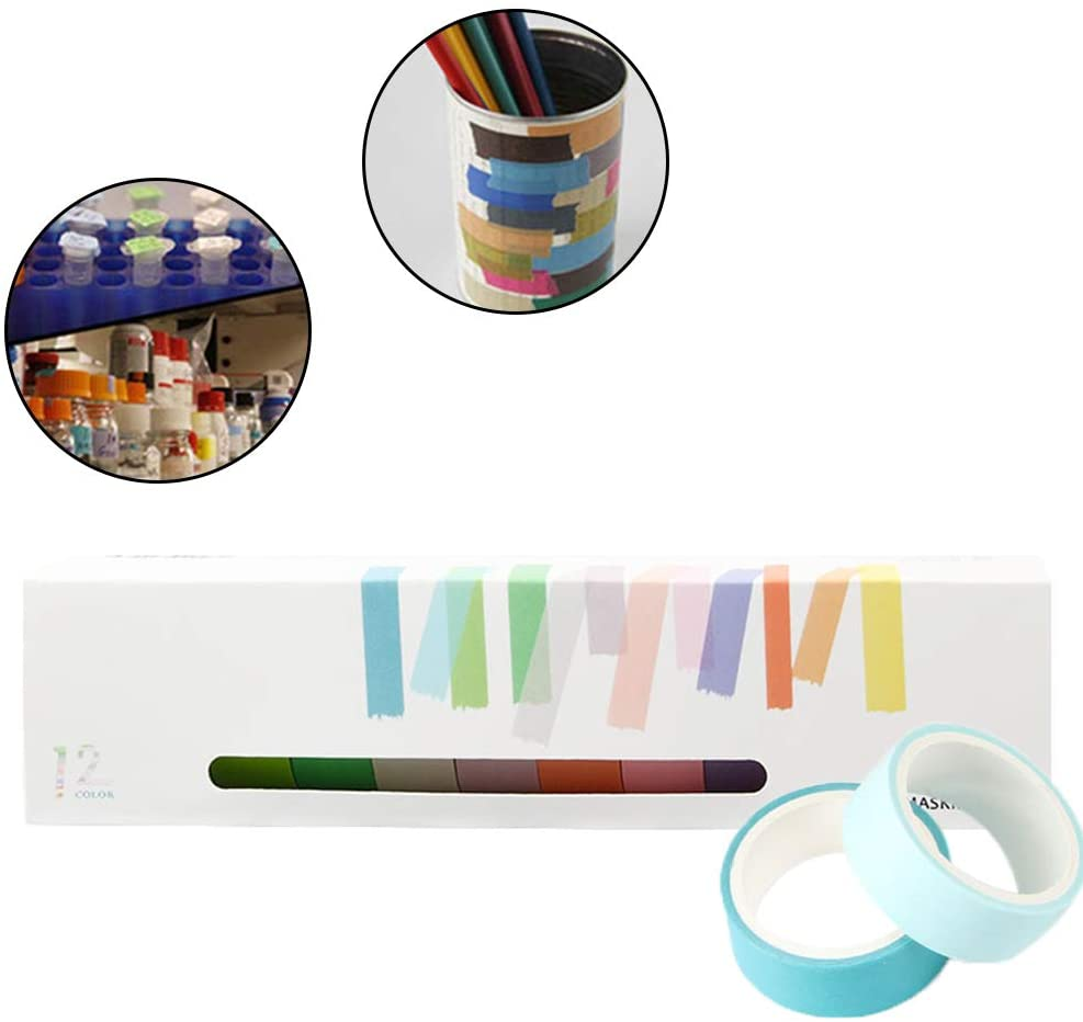 12 Pcs Simple Candy Macarons Color Washi Tape Colorful Masking Tape DIY Tape Decoration Scrapbooking Planner Masking Tape Label Sticker Stationery For Book Decoration DIY, Multicolor