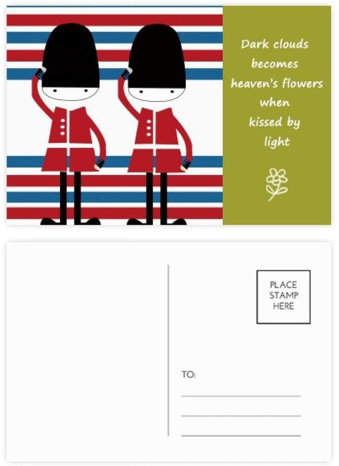 Colorful Soldier UK Landmark Flag Poetry Postcard Set Thanks Card Mailing Side 20pcs