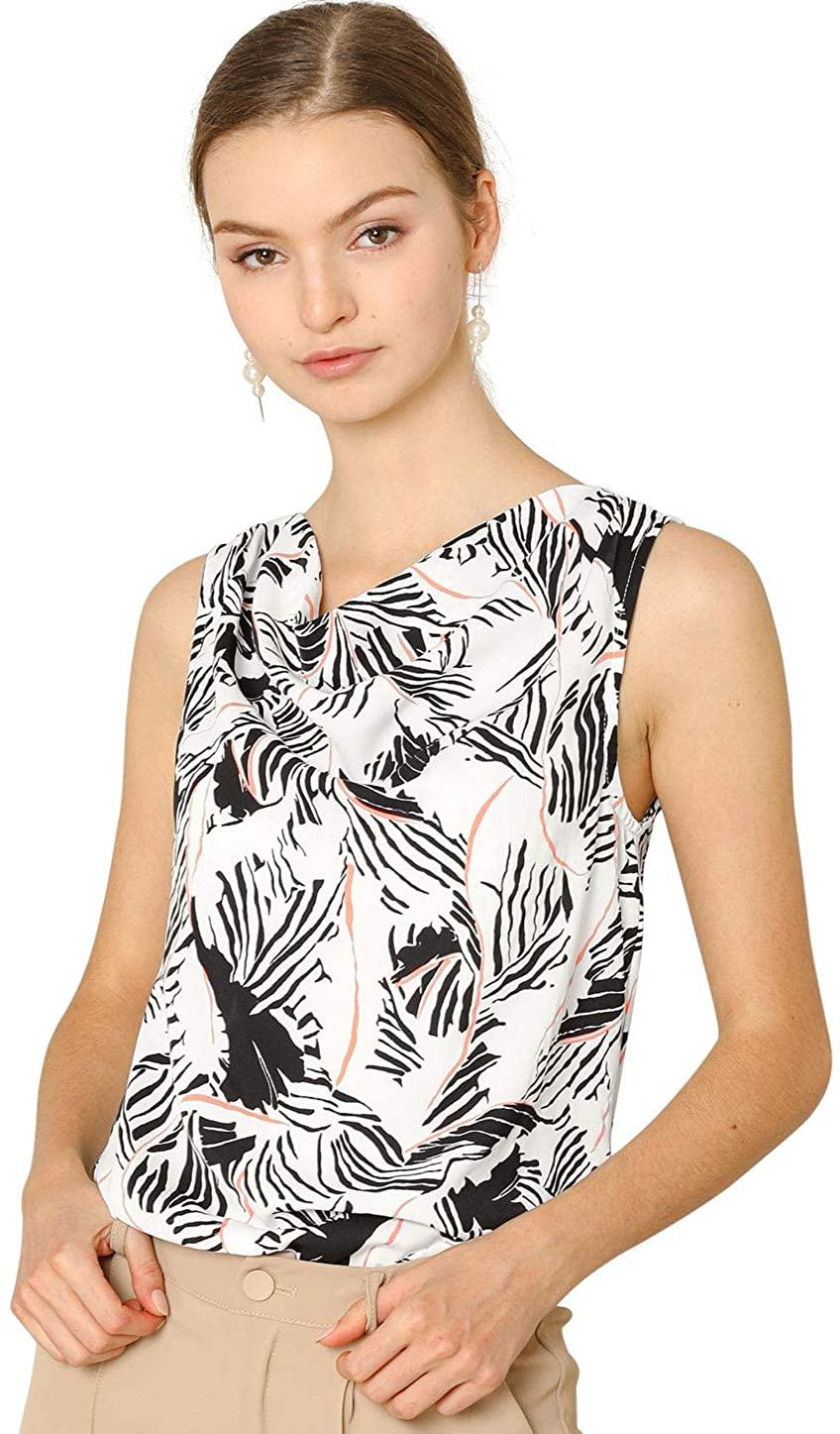 Allegra K Women's Summer Abstract Floral PrintCowl Neck Sleeveless Blouse Top