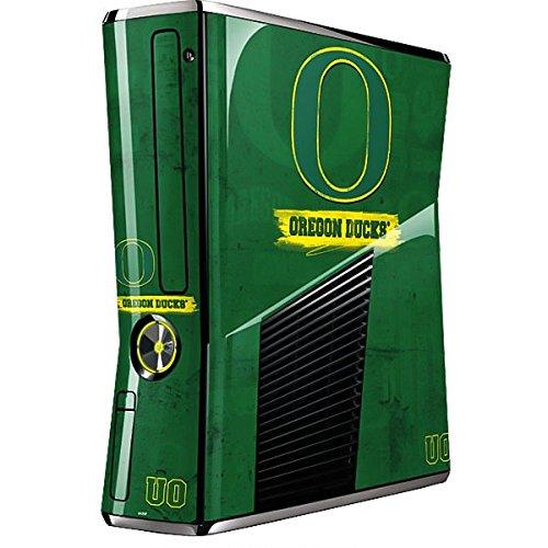 University of Oregon Xbox 360 Slim (2010) Skin - Oregon Distressed Vinyl Decal Skin For Your Xbox 360 Slim (2010)