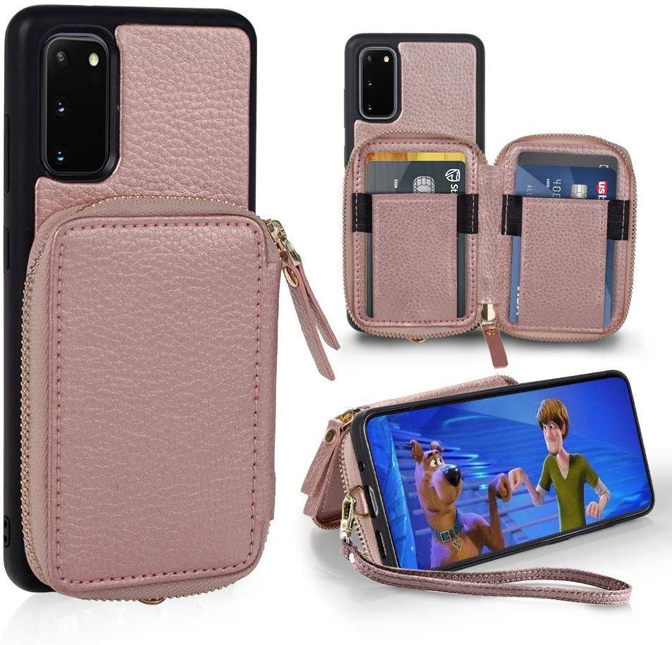 ZVE Samsung Galaxy S20 Case Wallet, Galaxy S20 Wallet Case Leather with Credit Card Holder Slots Wrist Strap Handbag Purse Screen Protective Cover Case for Galaxy S20 6.2