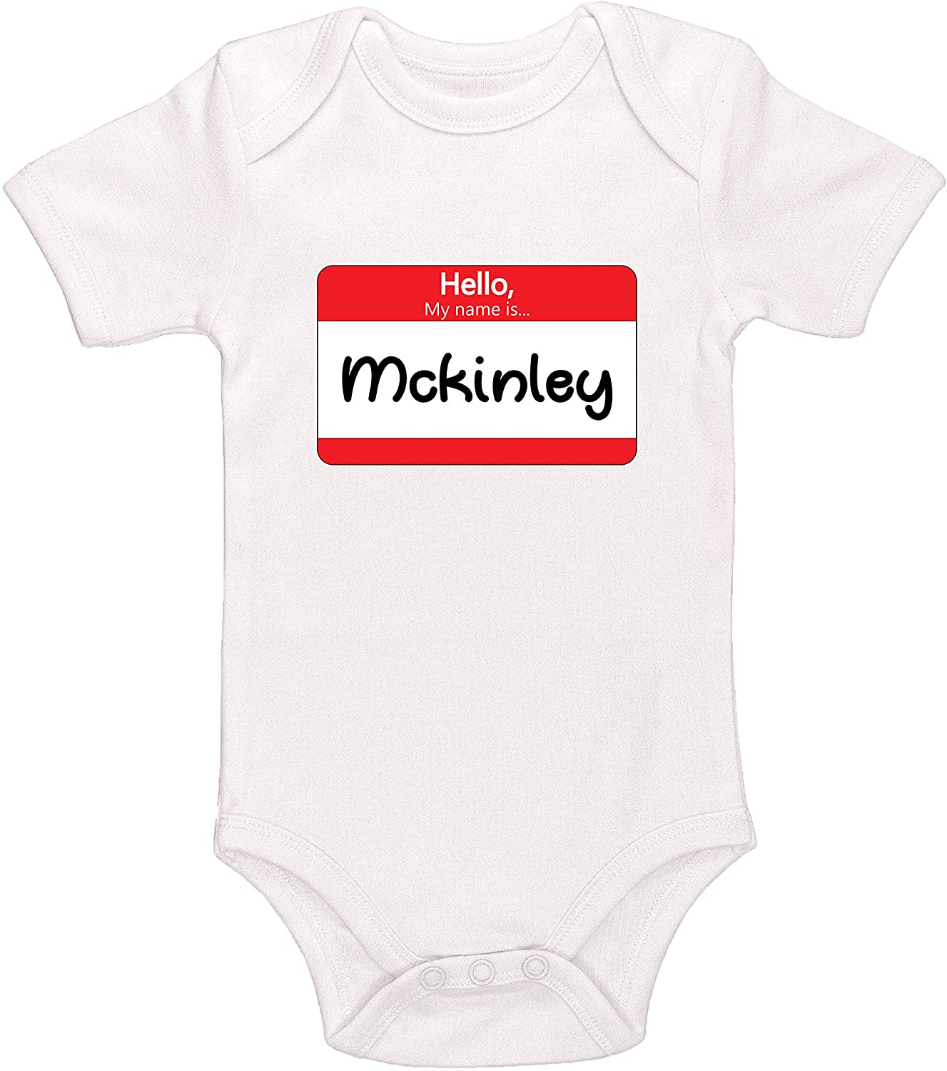 Kinacle Hello My Name is Mckinley Personalized Baby Bodysuit