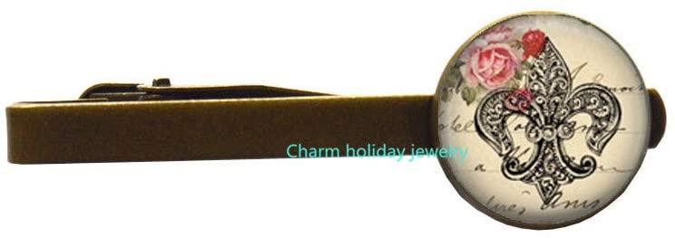 Flur de lis Jewelry Wearable Art French Tie Clip Flur de lis Tie Pin Charm Flur de lis Tie Pin-#96
