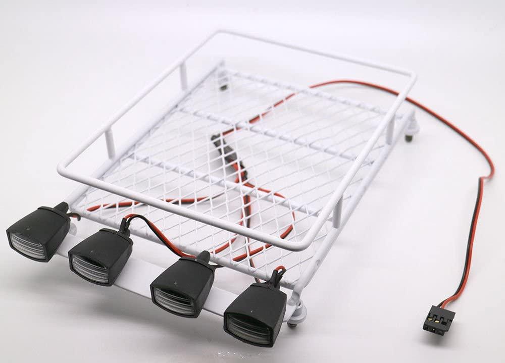 RC 1:10 Roof Luggage Rack LED Light Bar Wrangler Tamiya CC01 SCX10 Axial 512W (White)