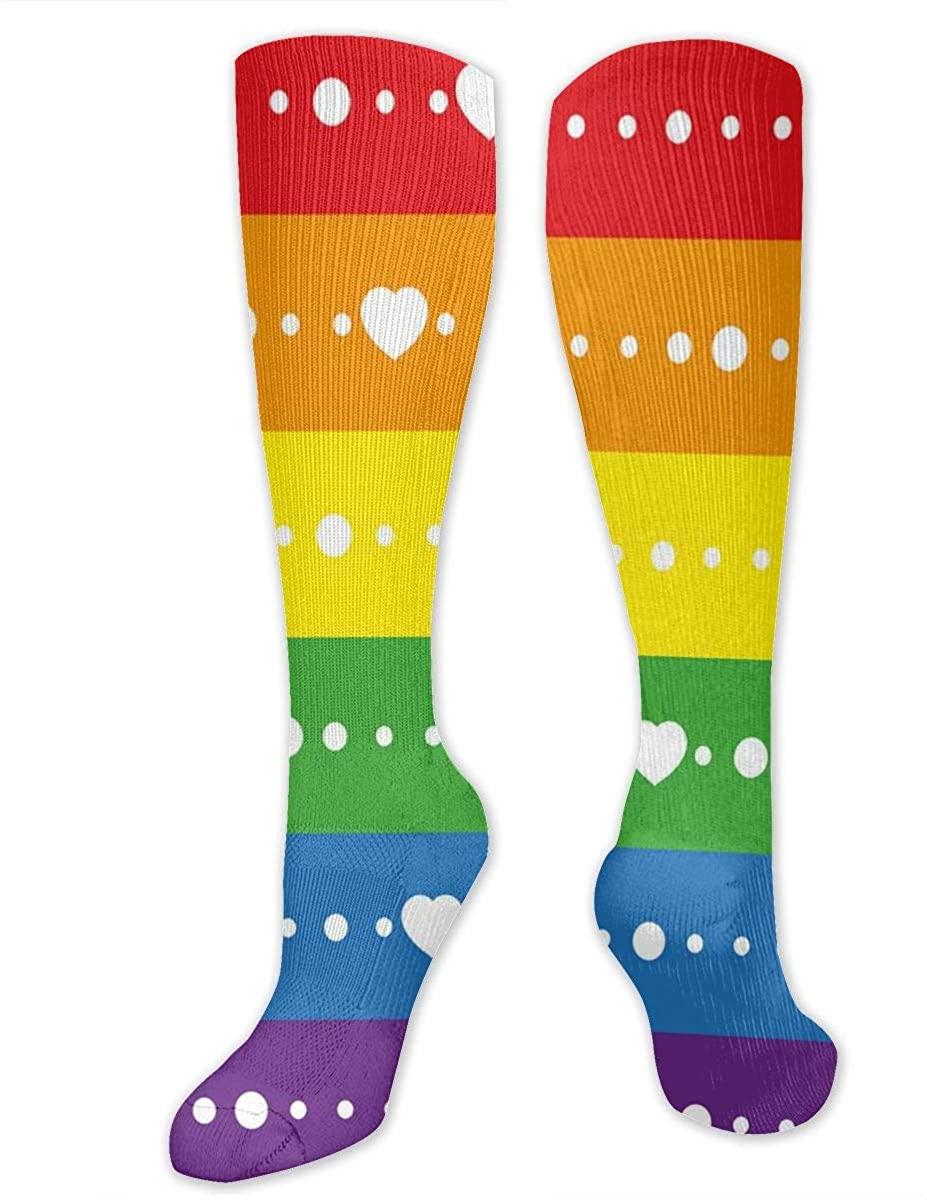 Men Women Knee High Socks Heart Striped LGBT Gay Pride Crew Hose Thigh Stockings