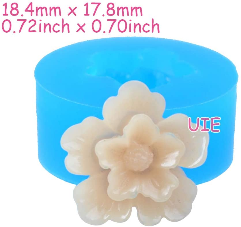 030LBH Flower Silicone Push Mold - Jewelry, Charms, Cupcake (Clay Fimo Epoxy Casting Resins Wax Gum Paste Fondant)