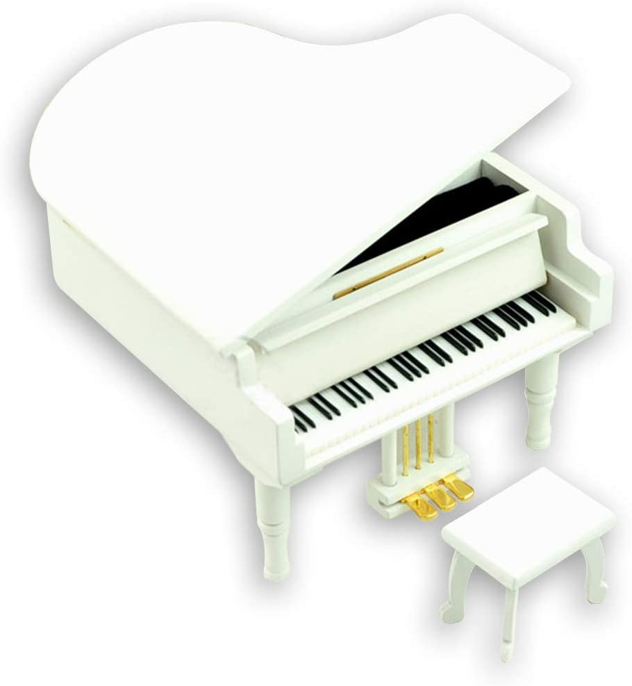 Bankour Wooden White Grand Piano Music Box with Sankyo Musical Movement (50 Tunes Option) (Yesterday Once More)