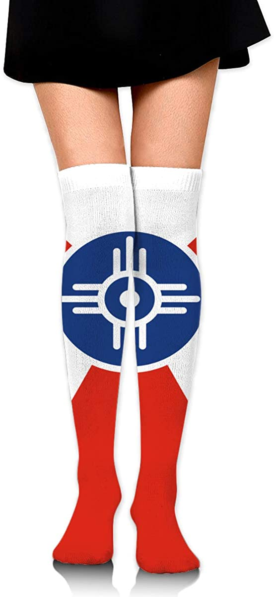Knee High Socks Flag Of Wichita Kansas Womens Athletic Over Thigh Long Stockings