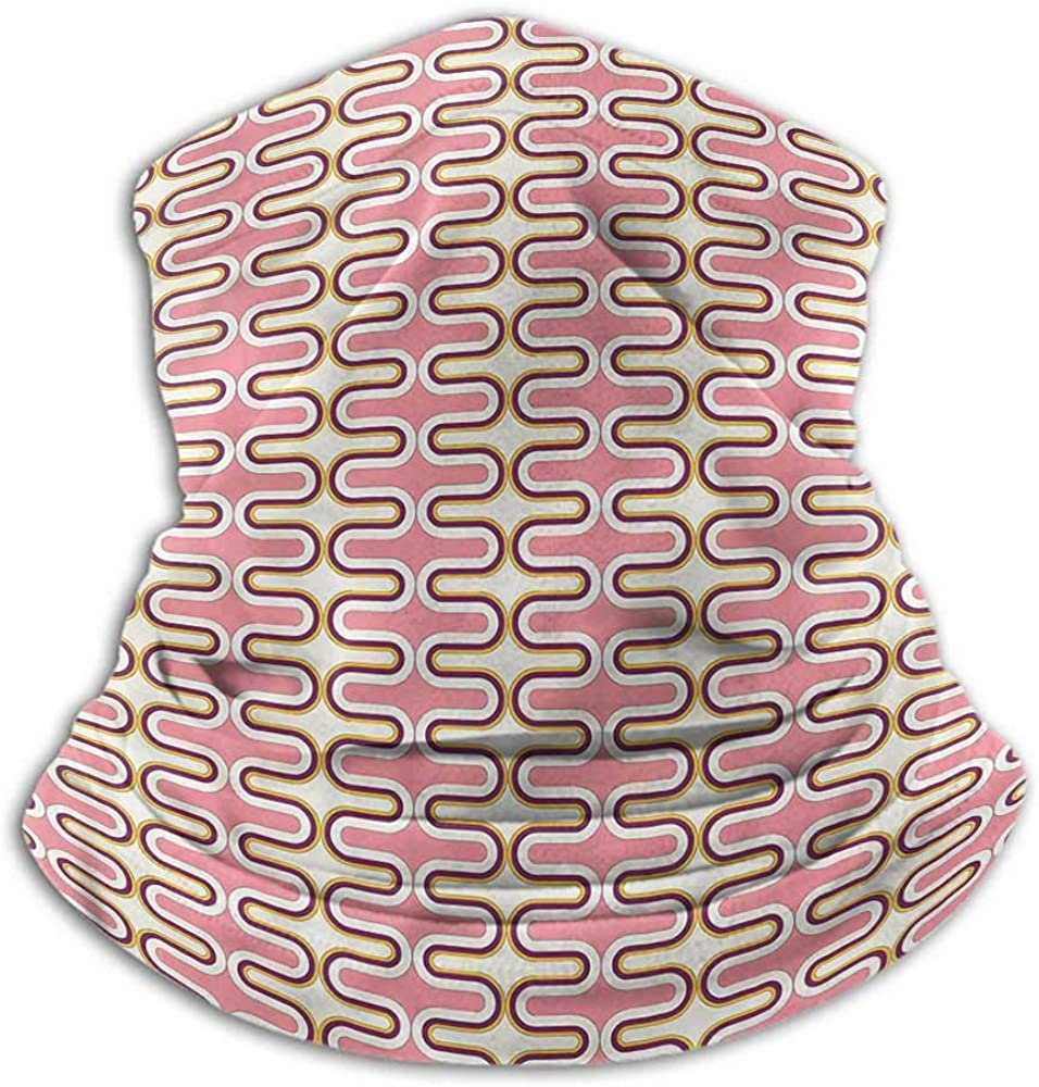 Seamless Face Bandana Abstract Headband Neck Gaiter Curved Lines Pastel Tones 10 x 12 Inch
