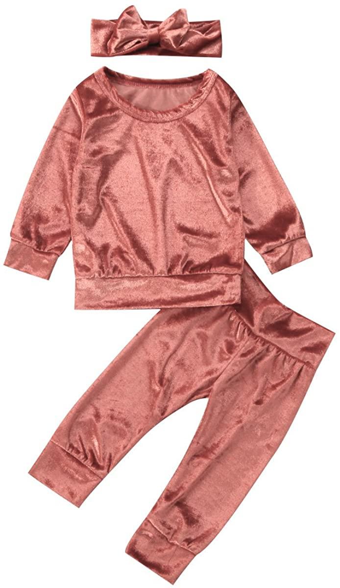 Toddler Newborn Baby Girl Fall Winter Velvet Outfit Soft Warm Tops Pants Headband 3Pcs Clothes Set
