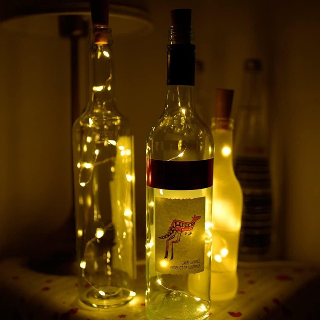 TT-COMMERCE Wine Bottle Lights with Cork,LED Cork Lights for Bottle,Copper Wire Bottle Lights for DIY, Party, Decor, Christmas, Halloween,Wedding(Warm White)