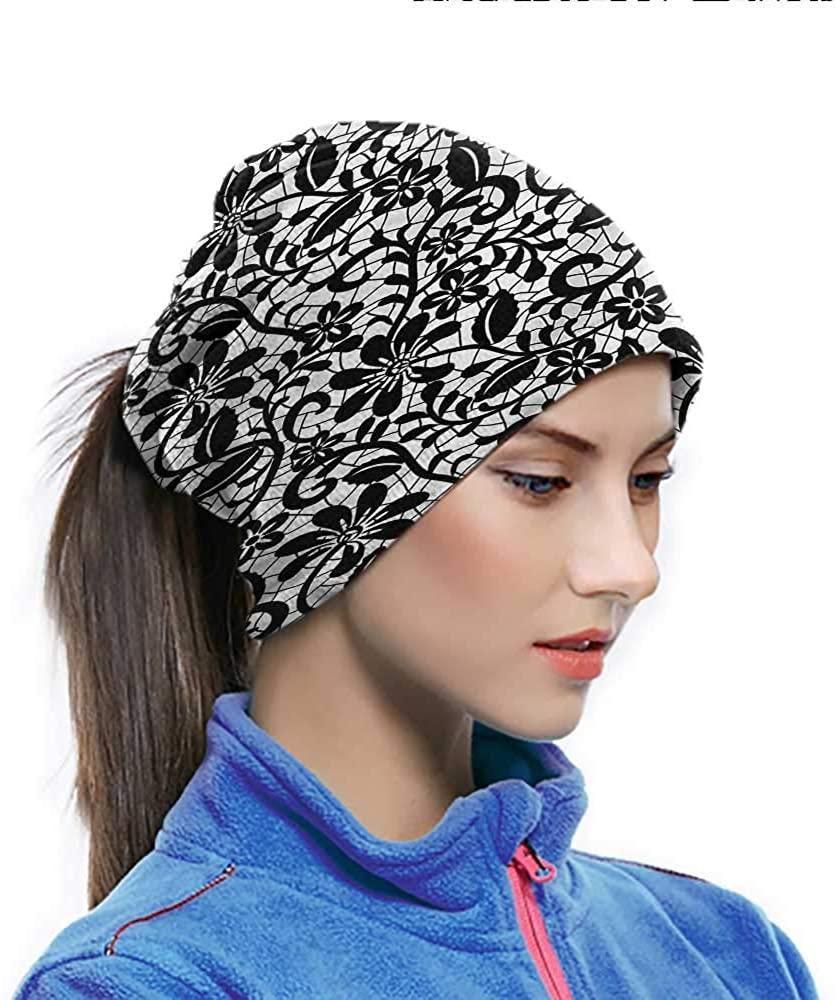 Headband Fractal, Romantic Floral Monochrome Sport Sweatband For Men women Sports/Outdoors 10 x 11.6 Inch